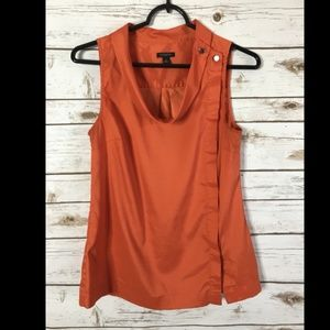 Ann Taylor Women's Size 0 Orange Blouse Top button